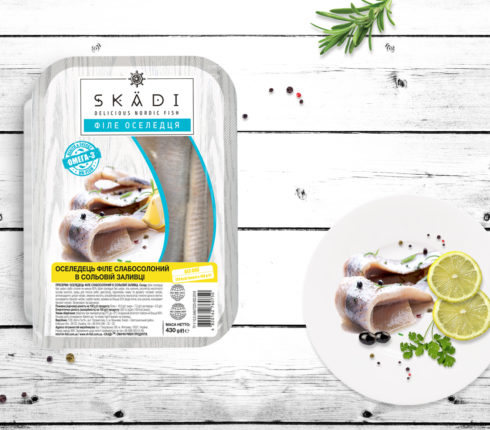 "Slightly salted Herring fillet in salt solution TM ""SKADI"" 430 g"