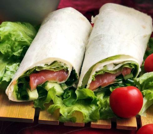 Recipe:  Salmon Lavash Wrap